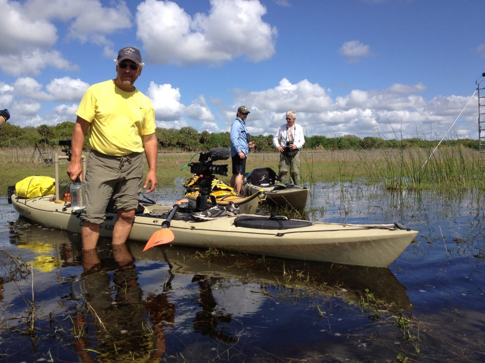 Elam with the Kayak getting ready to launch on the St. Johns River.