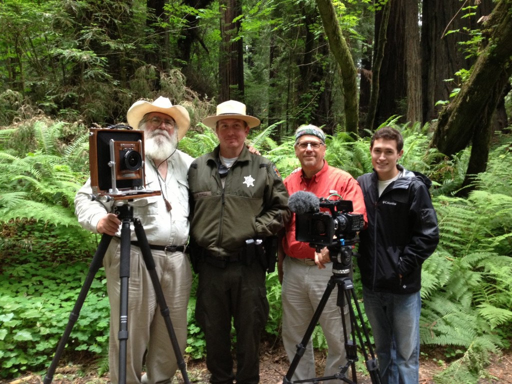 Clyde, a park ranger, Elam, and Joey in the Redwood Forest in California. Image by Niki Butcher.